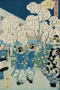 Cherry Blossoms at Asakura by Ando Hiroshige