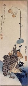 Couple de cailles et coquelicots by Ando Hiroshige