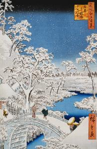 "Drum Bridge at Meguro, from the Series ""100 Views of Edo"" by Ando Hiroshige"