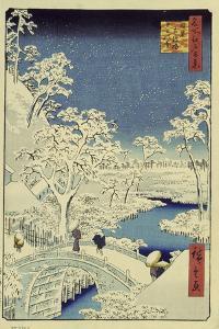 Drum Bridge Near Meguro, 1856-58 by Ando Hiroshige
