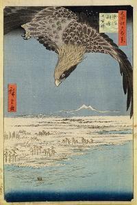 Eagle over 100,000 Acre Plain at Susaki, Fukagawa ('Juman-Tsubo'), from the Series '100 Views of… by Ando Hiroshige