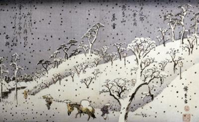 Evening Snow at Asuka Hill by Ando Hiroshige