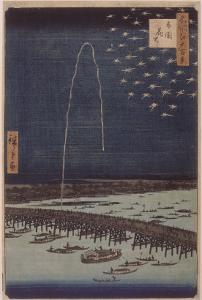 Feu d'artifice sur le pont Ryôgoku by Ando Hiroshige
