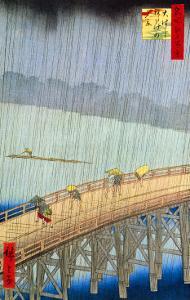 Great Bridge, Sudden Shower at Atake by Ando Hiroshige