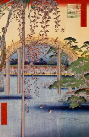 Inside Kameido-Tenjin Shrine by Ando Hiroshige