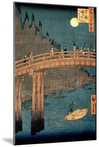"""Kyoto Bridge by Moonlight, from the Series """"100 Views of Famous Place in Edo,"""" Pub. 1855 by Ando Hiroshige"""