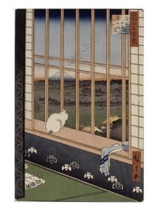 Le sanctuaire de Yushima Tenjin depuis le sommet de la colline by Ando Hiroshige