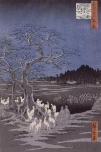 Les feux des renards à la veille de la Saint Sylvestre sous l'Arbre d'Ôji by Ando Hiroshige