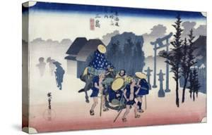 """Morning Mist at Mishima, from the Series """"53 Stations of the Tokaido,"""" 1834-35 by Ando Hiroshige"""