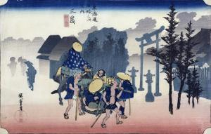 "Morning Mist at Mishima, from the Series ""53 Stations of the Tokaido,"" 1834-35 by Ando Hiroshige"