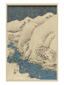 Mountains and Rivers on the Kiso Road (Kisoji No Sansen) No.1 by Ando Hiroshige