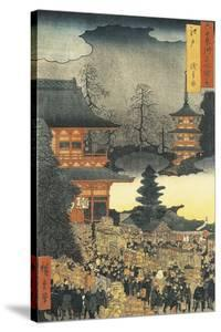 New Year's Eve Party in Asakusa, in the City of Edo, by Ando Hiroshige by Ando Hiroshige