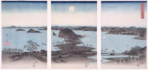 Panorama of Views of Kanazawa under Full Moon, from the Series 'snow, Moon and Flowers', 1857 by Ando Hiroshige