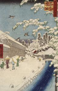 Personnage marchand sous la neige by Ando Hiroshige