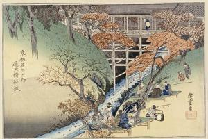 Red Maple Leaves at Tsuten Bridge, from the Series 'Famous Places of Kyoto' by Ando Hiroshige