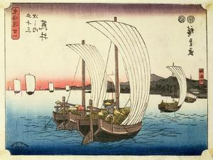 Sailing Boats at Arai, from the Series '53 Stations of the Tokaido', Pub. by Hoeido, Late 1840's by Ando Hiroshige