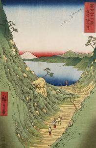 Shiojiri Pass in Shinano Province, from 'Thirty Six Views of Mount Fuji' by Ando Hiroshige