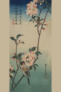Small Bird on a Branch of Kaidozakura. by Ando Hiroshige
