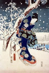 Snow Scene in the Garden of a Daimyo, Part of Triptych by Ando Hiroshige