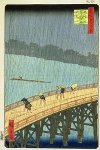 'Sudden Shower at Ohashi Bridge at Ataka', ('Ohashi, Atake No Yudachi') from the Series '100… by Ando Hiroshige