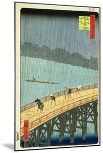 'Sudden Shower at Ohashi Bridge at Ataka', ('Ohashi, Atake No Yudachi') from the Series '100… by Ando Hiroshige