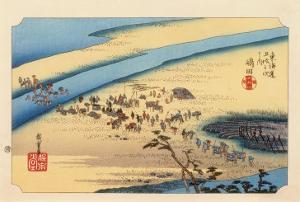 The 53 Stations of the Tokaido, Station 23: Shimada-juku, Shizuoka Prefecture by Ando Hiroshige