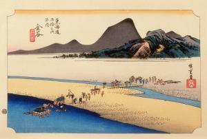 The 53 Stations of the Tokaido, Station 24: Kanaya-juku, Shizuoka Prefecture by Ando Hiroshige