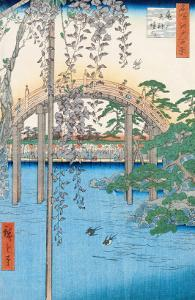 "The Bridge with Wisteria or Kameido Tenjin Keidai, Plate 57 from ""100 Views of Edo,"" 1856 by Ando Hiroshige"