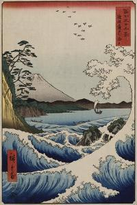 The Sea Off Satta in Suruga Province, from the Series 'The Thirty-Six Views of Mount Fuji' by Ando Hiroshige