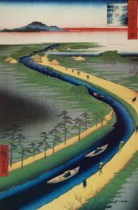 Towboats along the Yotsugi-Dori Canal by Ando Hiroshige