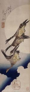 Vol d'oies sauvages sur fonds de lune by Ando Hiroshige