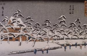 Vue d'un temple sous la neige by Ando Hiroshige