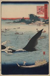Whale Hunting at the Island of Goto in Hizen (Hizen Goto? Kujiraryo? No Zu) by Ando Hiroshige