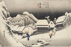 Evening Snow at Kanbara From the Series 53 Stations of the Tokaido, c.1833-4 by Ando or Utagawa Hiroshige