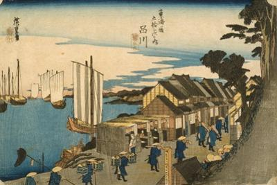 Shinagawa: Departure of a Daimy? from the series 53 Stations of the Tokaido, 1831-4 by Ando or Utagawa Hiroshige