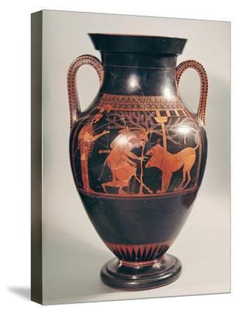 Attic Red-Figure Belly Amphora of Herakles Capturing Kerberus, Greek, from Athens, 6th Century B