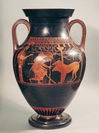 Attic Red-Figure Belly Amphora of Herakles Capturing Kerberus, Greek, from Athens, 6th Century B