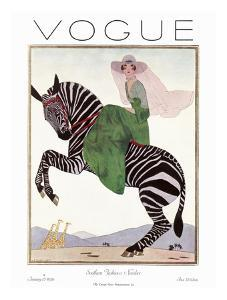 Vogue Cover - January 1926 - Zebra Safari by Andr? E. Marty