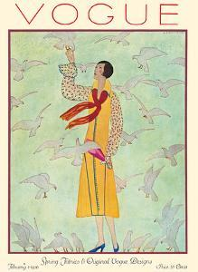 Vogue Magazine - February 1, 1926 - Lady Feeding Flock of Birds by Andr? E. Marty