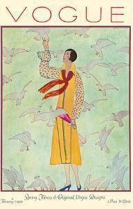 Vogue Magazine - February 1, 1926 - Lady Feeding Flock of Birds by Andr? E. Marty