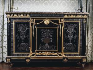 Ebony Commode with Metal Inlays by Andre-charles Boulle