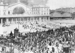 The Gare De L'Est Railway Station During the Period of Mobilization, Paris, France, 1914 by Andre Devambez