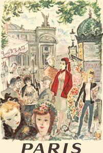 Paris, France - Sidewalk Café Near Opera National de Paris by André Dignimont