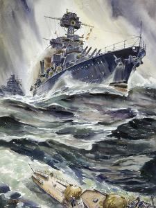 A Painting of the U.S. Battleships, Maryland and New Mexico by Andre Durenceau