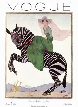 Vogue Cover - January 1926 - Zebra Safari by André E. Marty