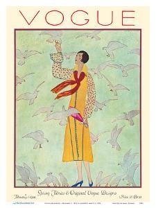 Vogue Magazine - February 1, 1926 - Lady Feeding Flock of Birds by André E. Marty