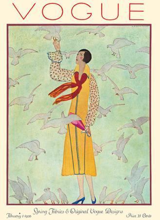 Vogue Magazine - February 1, 1926 - Lady Feeding Flock of Birds