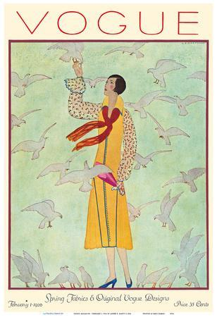 Vogue Magazine - February 1, 1926 - Lady Feeding Flock of Birds
