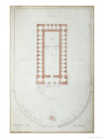 Plan of the Temple of Solomon in Jerusalem, Mid 19th Century
