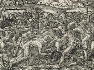 Battle Between Margageaz and Tabajares Tribes, Engraving from Universal Cosmology by Andre Thevet